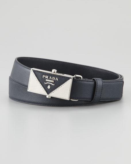 Saffiano Plaque Belt, Blue
