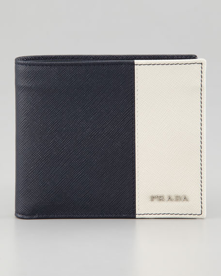 Saffiano Leather Bi-Fold Wallet, Blue/White
