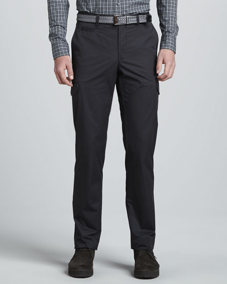 Twill Cargo Pants, Charcoal