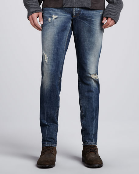 Mid-Rise Distressed Jeans, Faded Blue