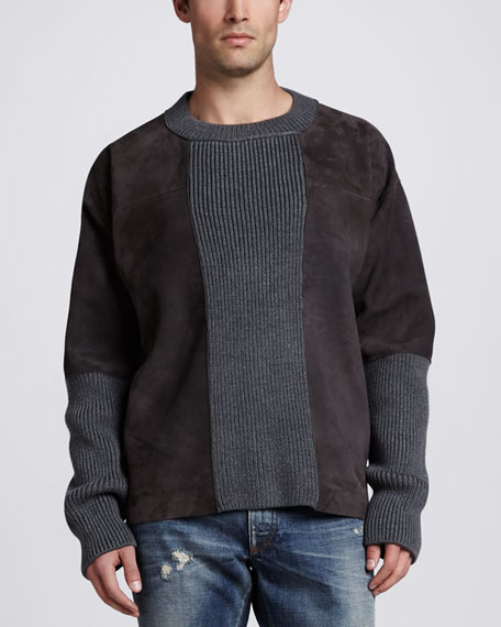 Suede & Knit Crewneck Sweater, Tan