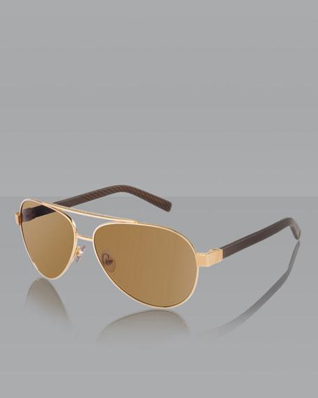 Phantom Aviator Sunglasses, Gold