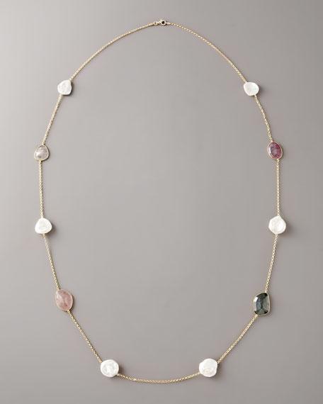 Multicolored Sapphire & Pearl Necklace