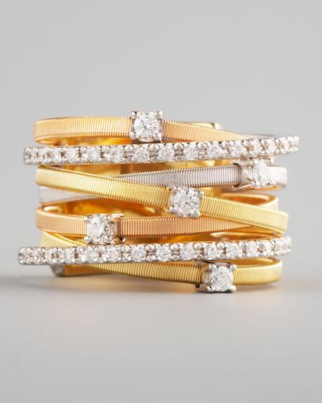 Goa Diamond Mixed-Gold Ring, 7 Stack
