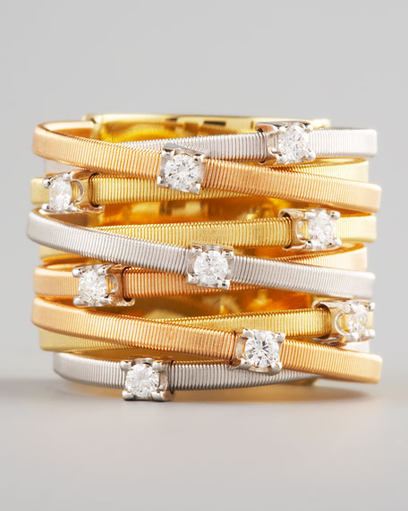 Goa Diamond Mixed-Gold Ring, 9 Stack