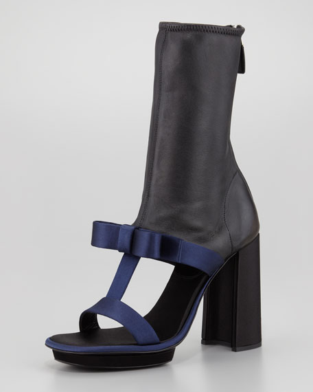 Satin & Leather T-Strap Ankle Boot Sandal, Navy/Black