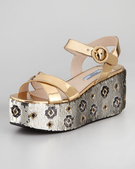 Paillette and Metallic Leather Flatform Sandal