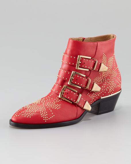 Suzanna Studded Boot, Red