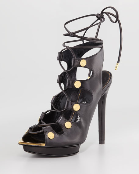 Lace-Up Platform Sandal, Black