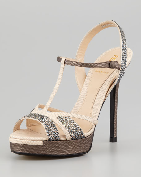 Crystal-Covered T-Strap Platform Sandal