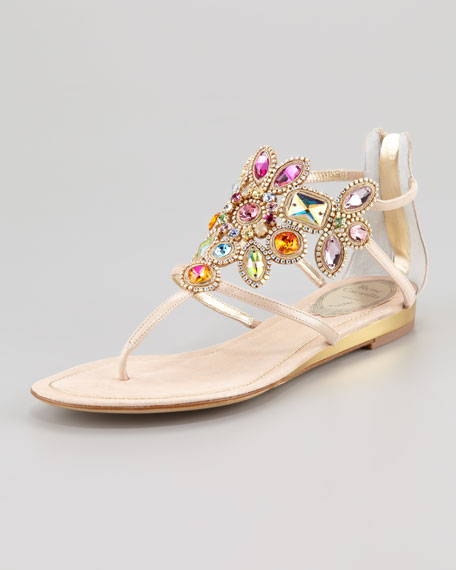 Jeweled-Cuff Thong Sandal, Beige