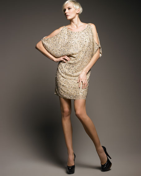 Aidan Mattox Sequined Cold-Shoulder Dress