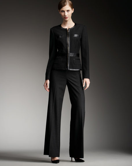 Leather-Detailed Pantsuit