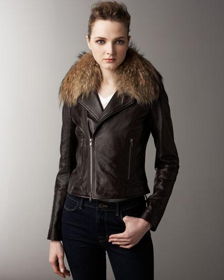 Fur-Collar Trim Leather Jacket