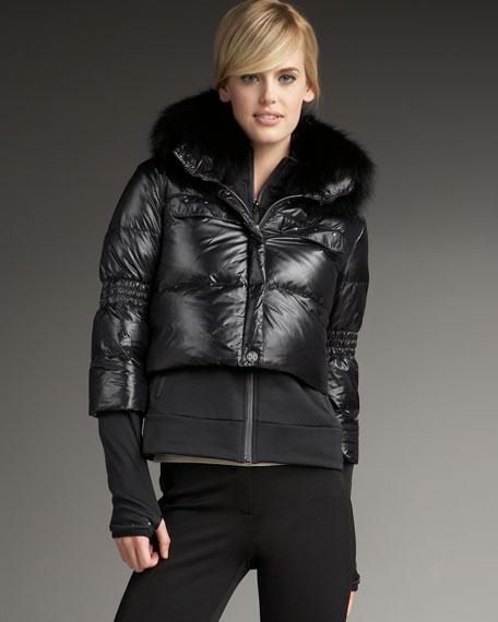 Fox-Collar Down Fleece Jacket