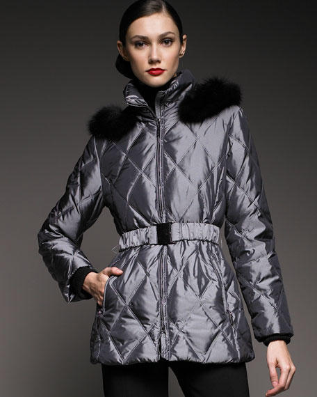 Fur-Trimmed Quilted Coat