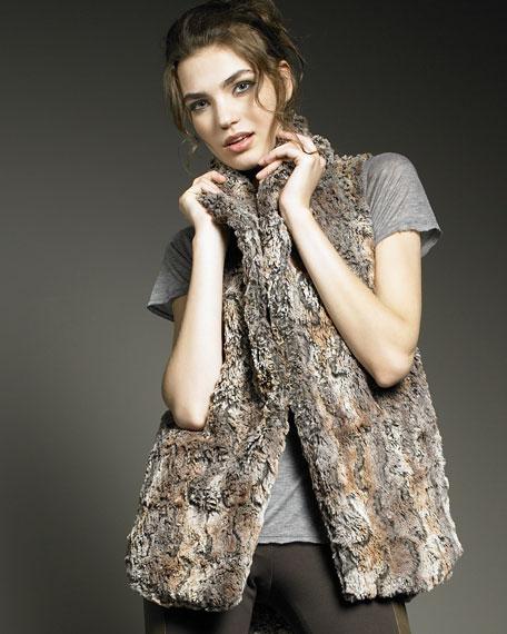Shawl-Collar Faux Fur Vest