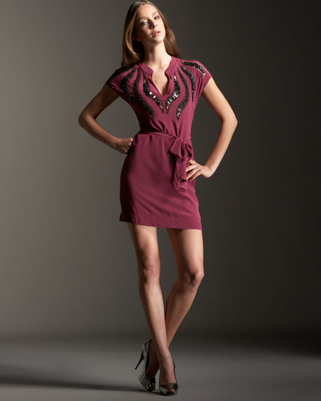 Cap-Sleeve Tie Waist Cobra Dress