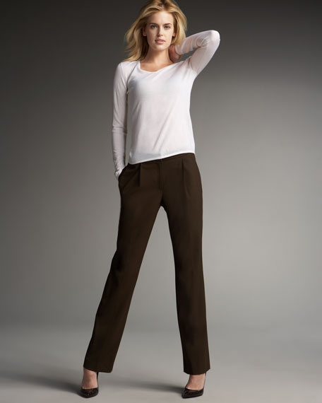 Pleated Stretch Wool Pants