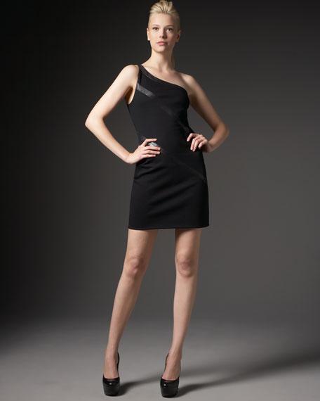 One-Shoulder Leather-Paneled Knit Dress