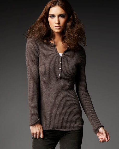 Ribbed Cashmere Henley Sweater