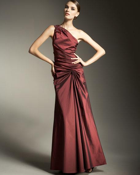One-Shoulder Stretch Taffeta Gown