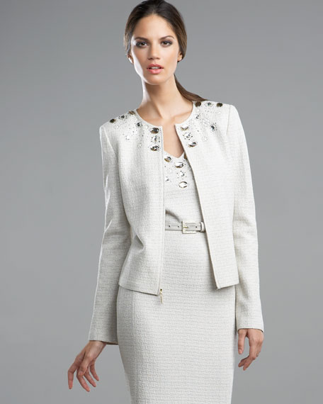 Beaded-Neck Zip Jacket