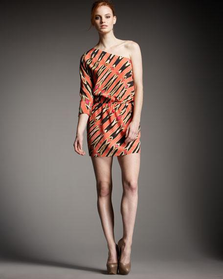One-Shoulder Printed Dress