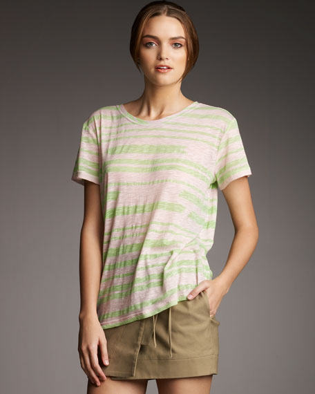 Broken-Stripe Sleeve Tee