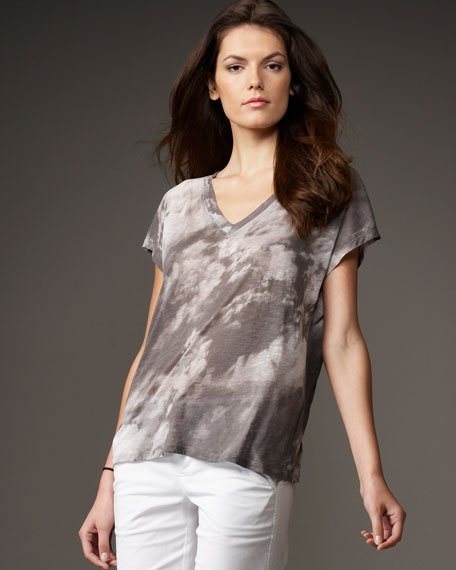 Cloud-Print V-Neck Tee