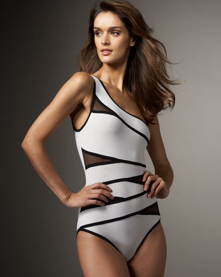Mesh-Cutout Swimsuit