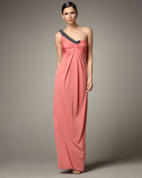 One-Shoulder Bead-Detail Gown