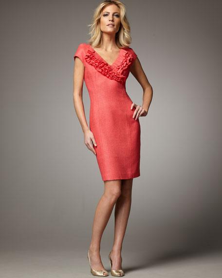 Cap-Sleeve Ruffled Sheath Dress