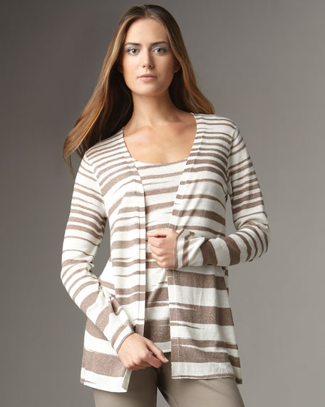 Metallic-Stripe Cardigan