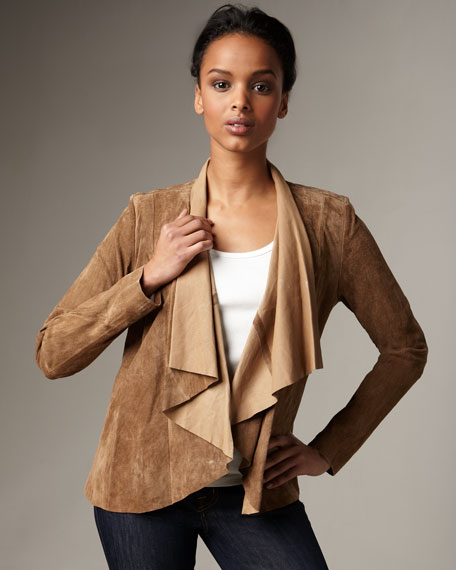 Draped-Front Suede Jacket