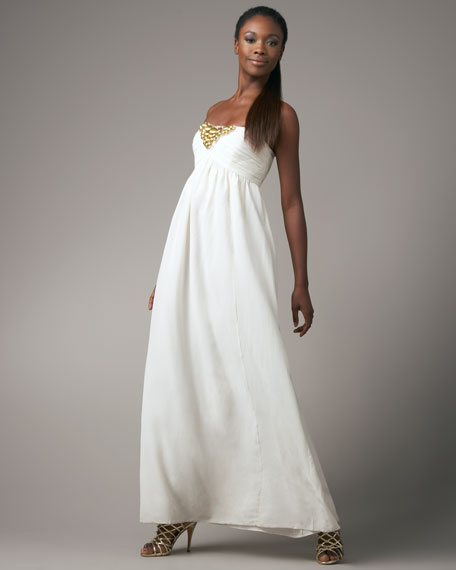 Strapless Beaded Maxi Dress