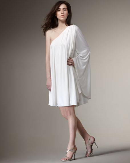 One-Shoulder Trapeze Dress, White