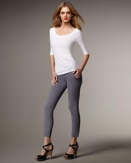 Alycia Dusty Blue Cropped Skinny Jeans