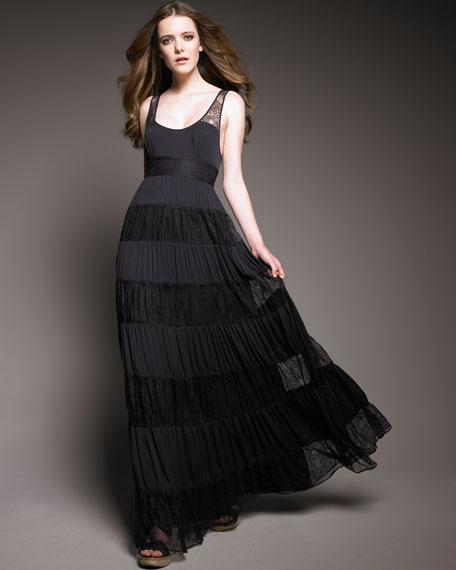 Lace-Panel Maxi Dress