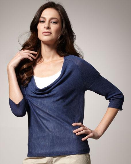 Silk-Linen Drape Top