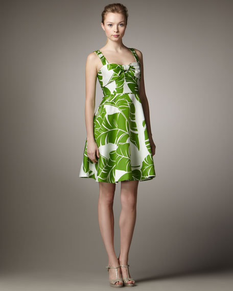 Leaf-Print Full Dress