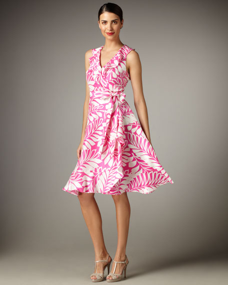 fiona leaf-print wrap dress