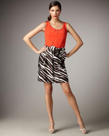 kolette bow-waist zebra-print skirt