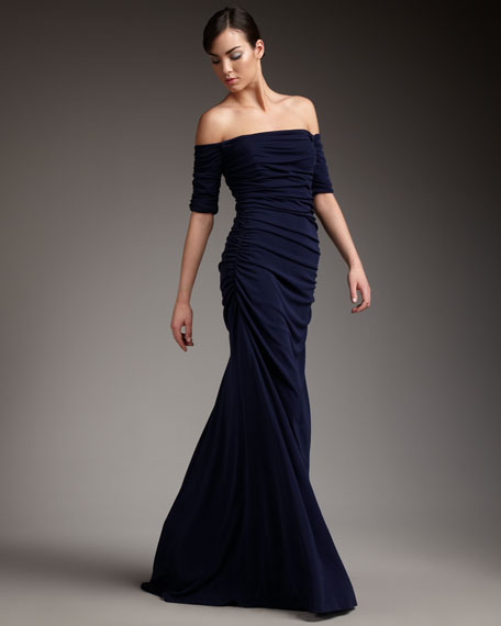 Off-the-Shoulder Ruched Gown