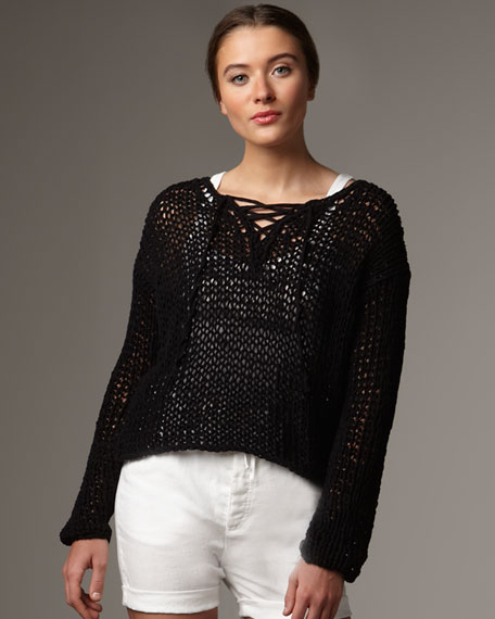 String Knit Lace-Up Top