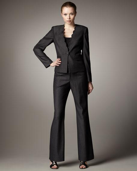 Scallop-Detail Suit