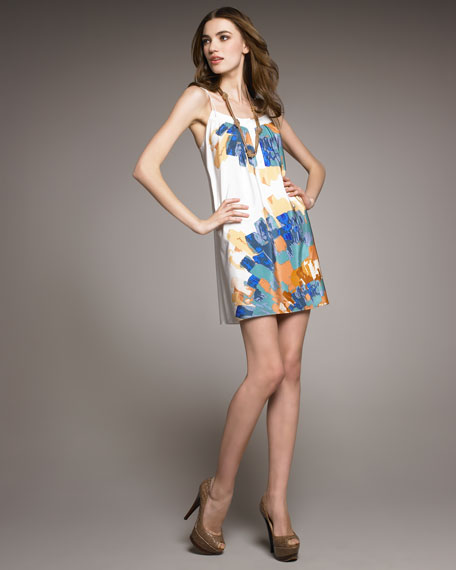 Tie-Strap Printed Shift Dress