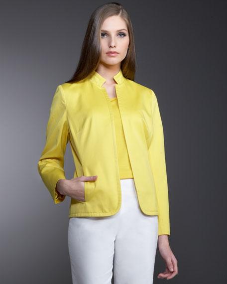 Neiman Marcus Silk-Cotton Open Jacket