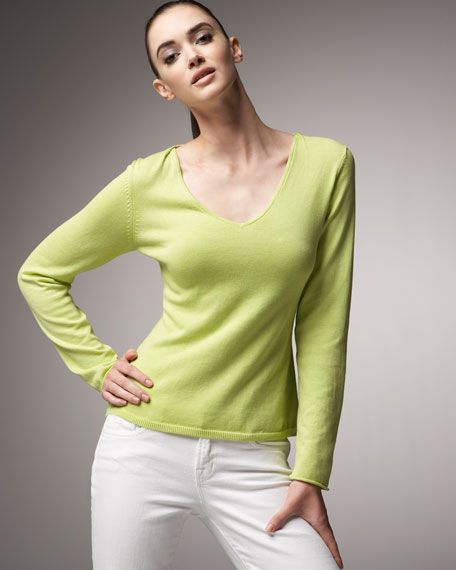 Pleated V-Neck Sweater
