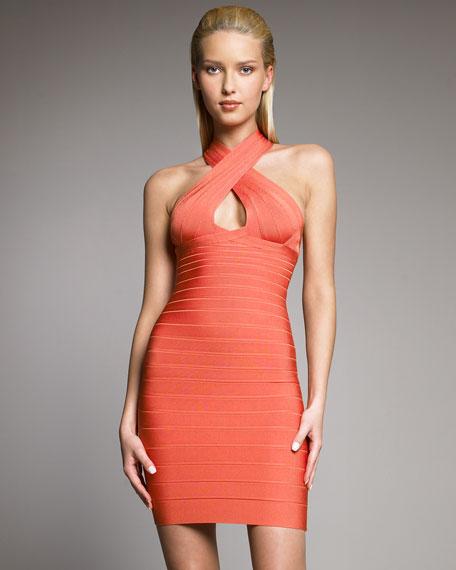 High-Neck Bandage Dress
